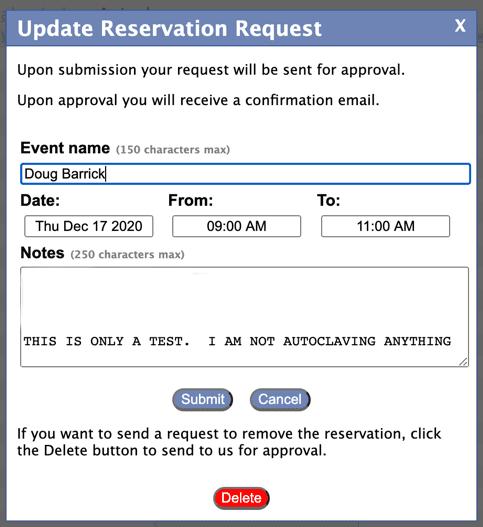 Update Reservation request Via Krescal.jhu.edu/bph